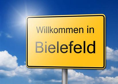 Herzlich Willkommen in Bielefeld Schild Hintergrund