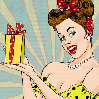 Girl with the gift .Pin up girl. Party invitation.