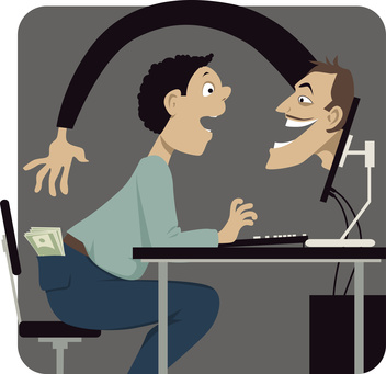 Online scammer reaching to steal money out of a pocket of a naive internet user, vector illustration, EPS 8