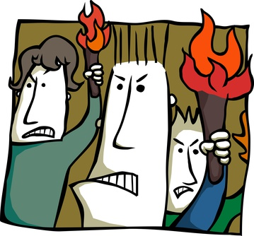 angry torch bearers