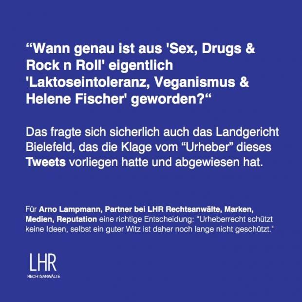 Sex, Drugs & Rock n Roll Adé:  Das LG Bielefeld zum Urheberschutz von Tweets