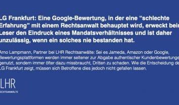 LG Frankfurt verbietet gefälschte Mandanten-Bewertung in Rechtsanwalts-Google-Profil