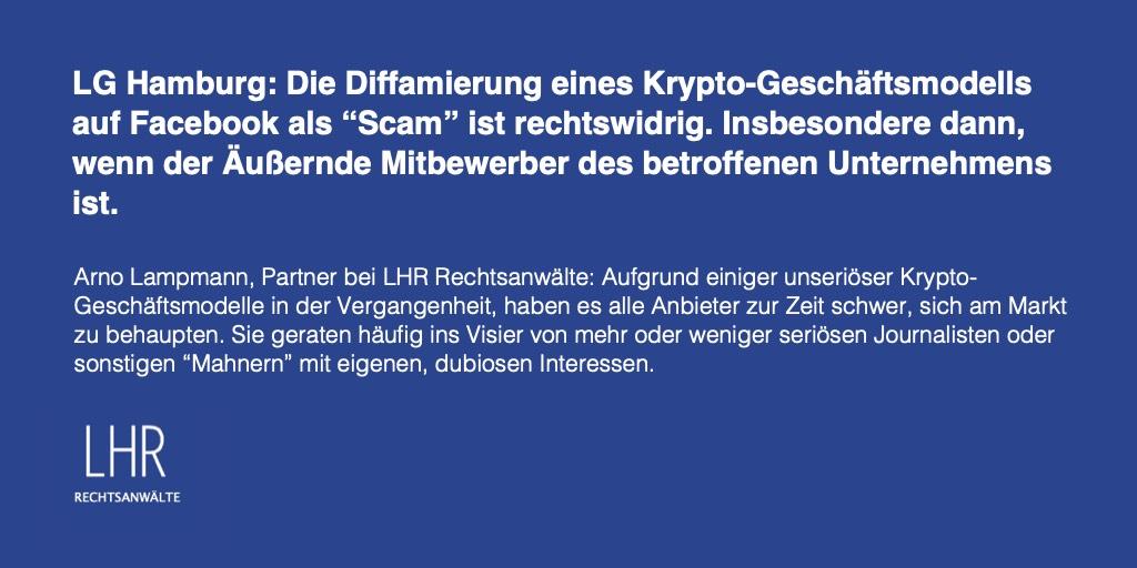 """LG Hamburg verbietet Betrugsvorwürfe auf Facebook durch """"Krypto-Guru"""""""