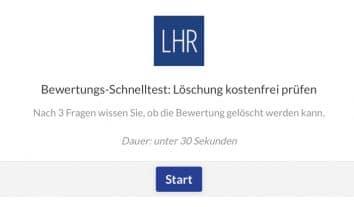 LHR-Aktion für Betroffene von negativen Bewertungen: Kostenloser Online-Bewertungs-Schnelltest
